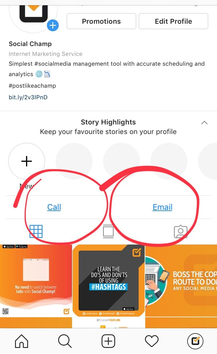Instagram Email and Call Option
