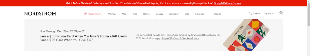 Nordstrom home page christmas marketing