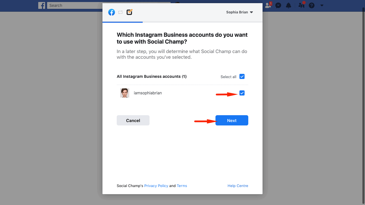 selecting-facebook-options-to-connect-instagram