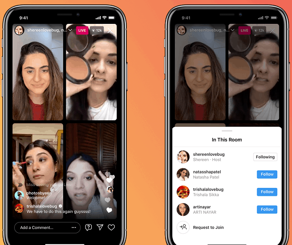 Instagram Live room with multiple participants