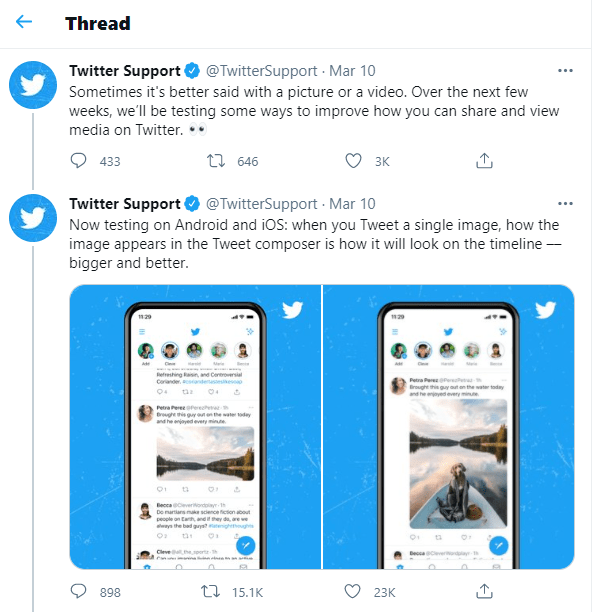 Twitter Images displaying a condensed image and a 4K image