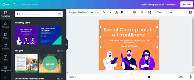 Creating post on canva